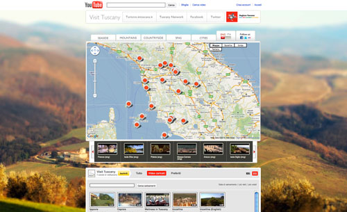 The screenshot of Tuscany's official YouTube channel