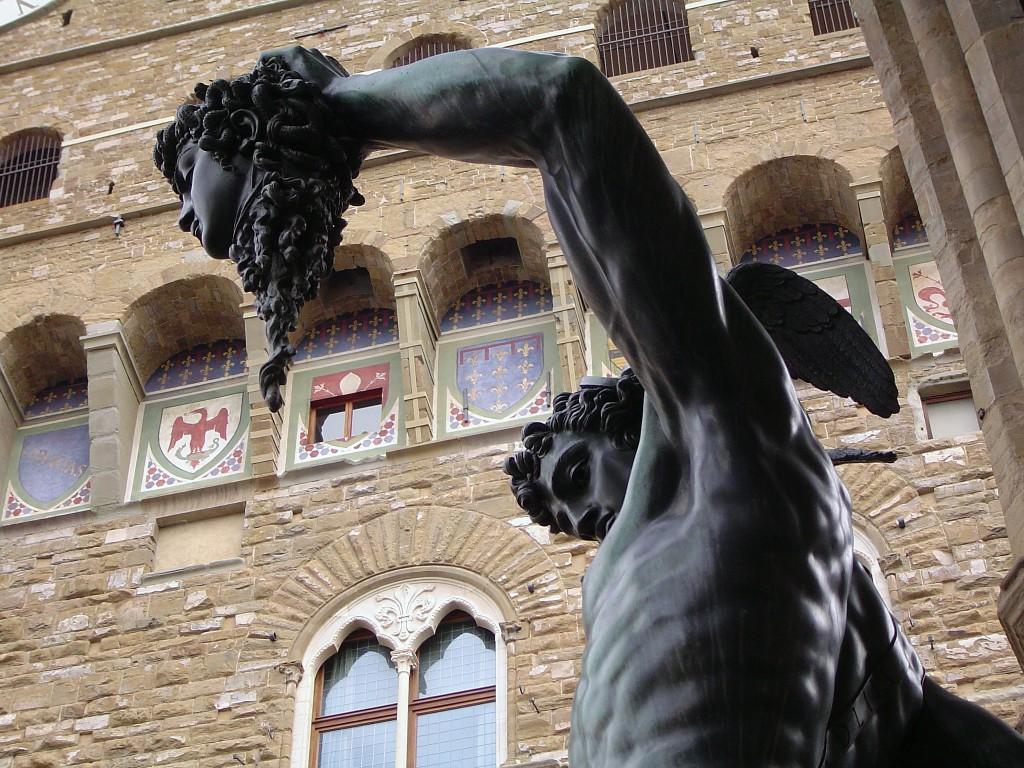 Perseus holding the head of Medusa under le Loggia dei Lanzi