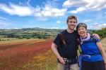 Alex and his mother along the Via Francigena