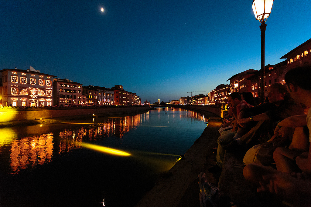 The Arno river during the Luminara Candlelight Festival of Pisa