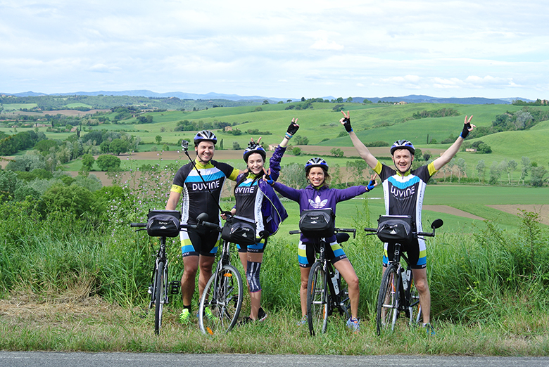 Biking with friends in Tuscany