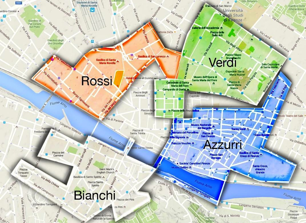 corners of the city Florence historical football