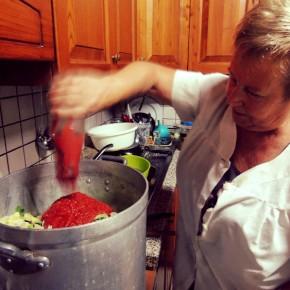 O purê de tomate