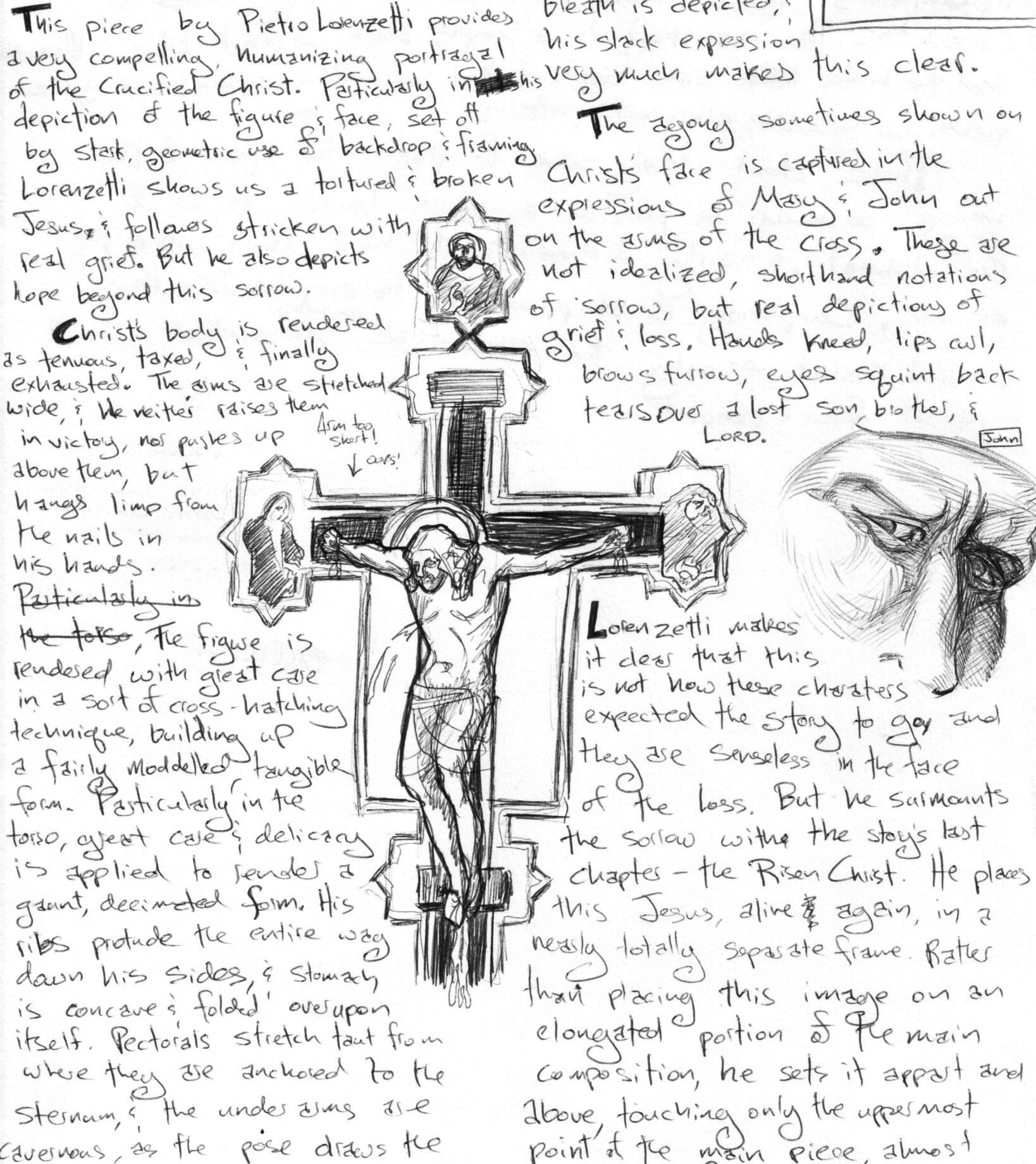 slow art friday drawing lorenzetti u0027s christ on the cross in cortona