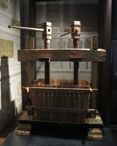 Reproduction of an ancient wine press