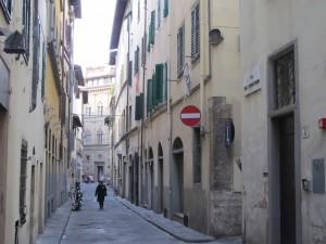 Via del Purgatorio with Palazzo Rucellai at the end