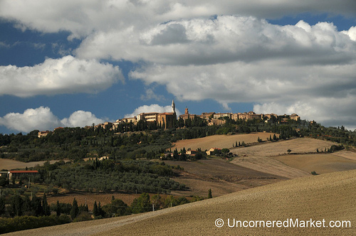The hill town of Pienza sits at the top of beautiful agricultural fields in the Val d'Orcia area.