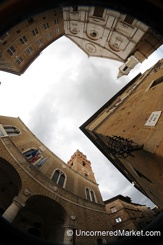 Fisheye View of Piazza Pio II in Pienza