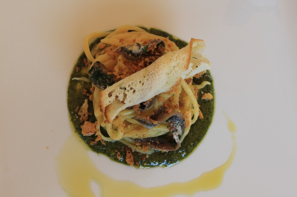 Pici with tarragon pesto and bread crumbs