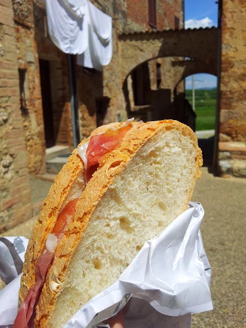 Tuscan bread and prosciutto