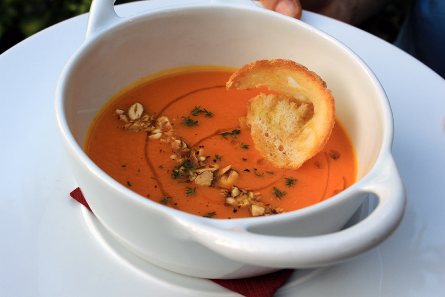 Dinner at Castle: Spiced citrus carrot soup with almonds ...